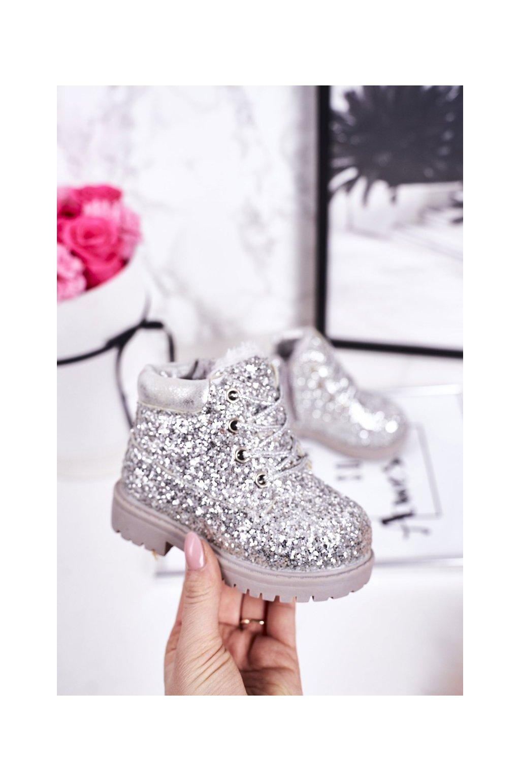 Detské členkové topánky farba sivá kód obuvi 20307-1D/2D SILVER
