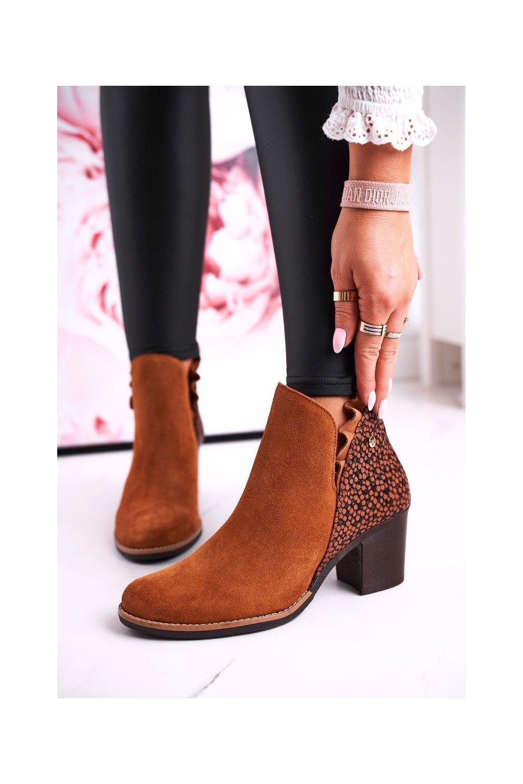 Členkové topánky na podpätku farba hnedá kód obuvi 04833-43/00-5 RUDY
