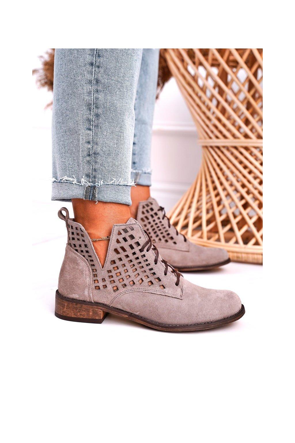 Členkové topánky na podpätku farba hnedá kód obuvi 2628/024 CAPPUCCINO
