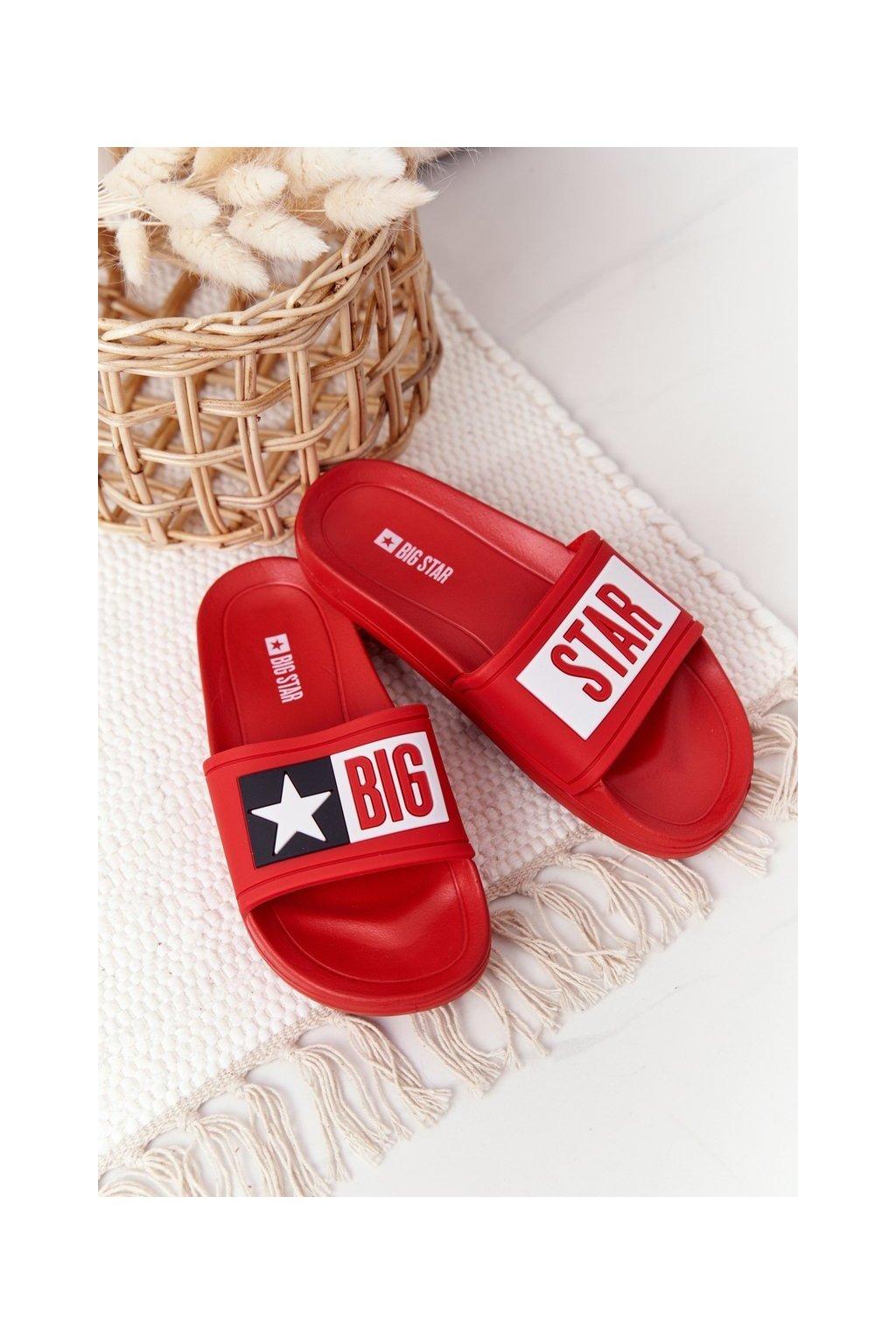 Detské šľapky farba červená kód obuvi DD374153 RED