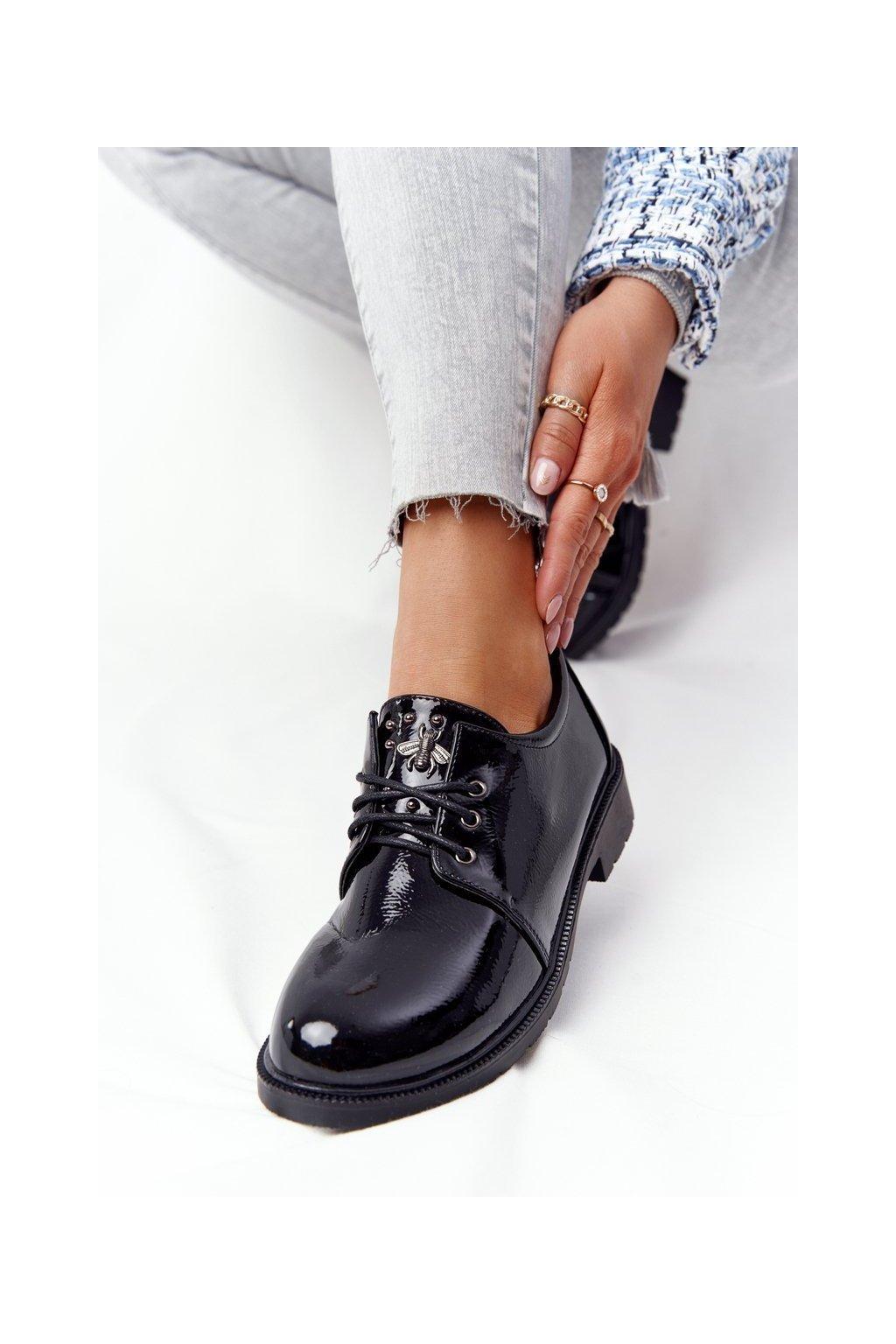 Dámske poltopánky farba čierna kód obuvi 309 BLK
