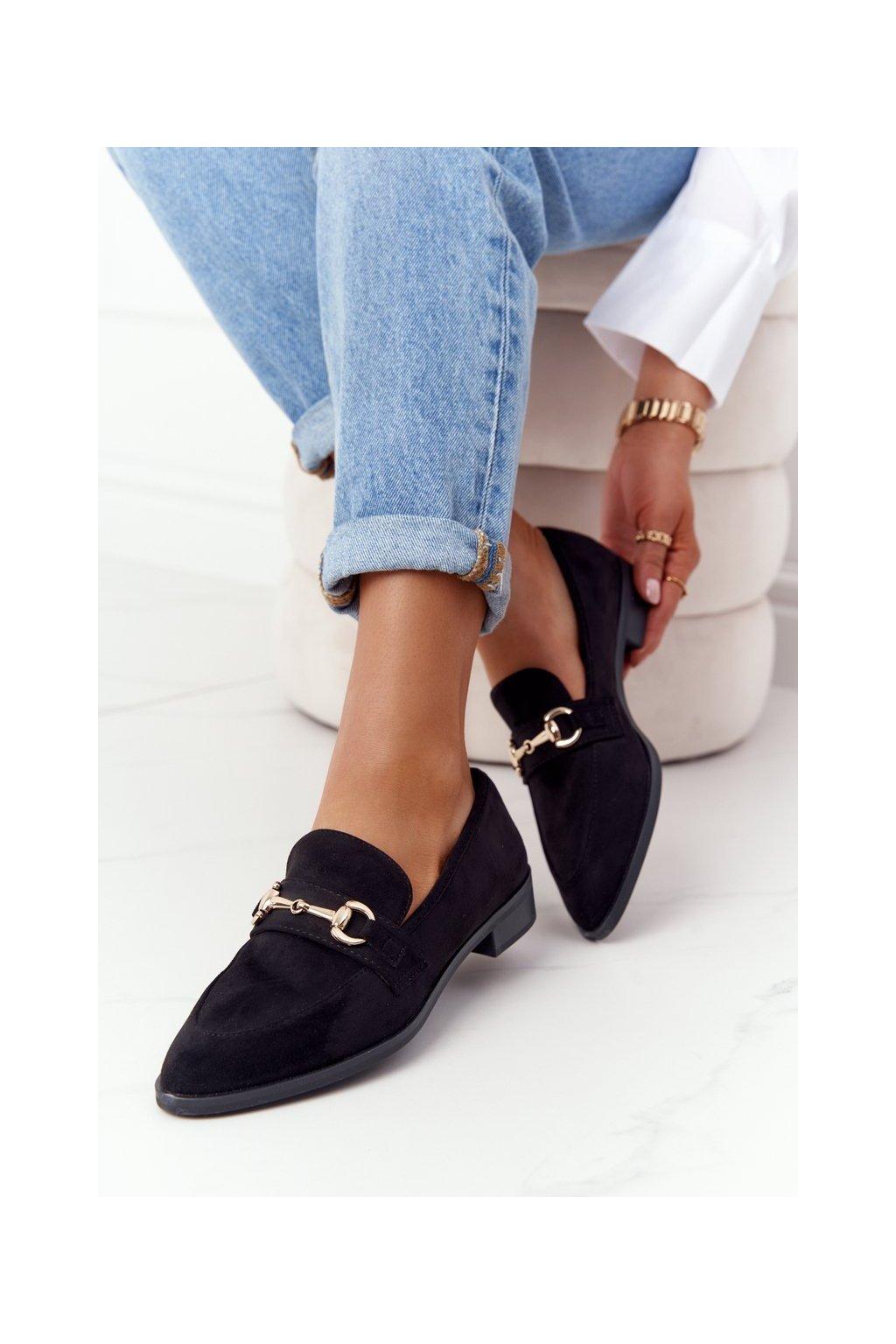 Dámske mokasíny farba čierna kód obuvi 011-1 SUEDE BLK