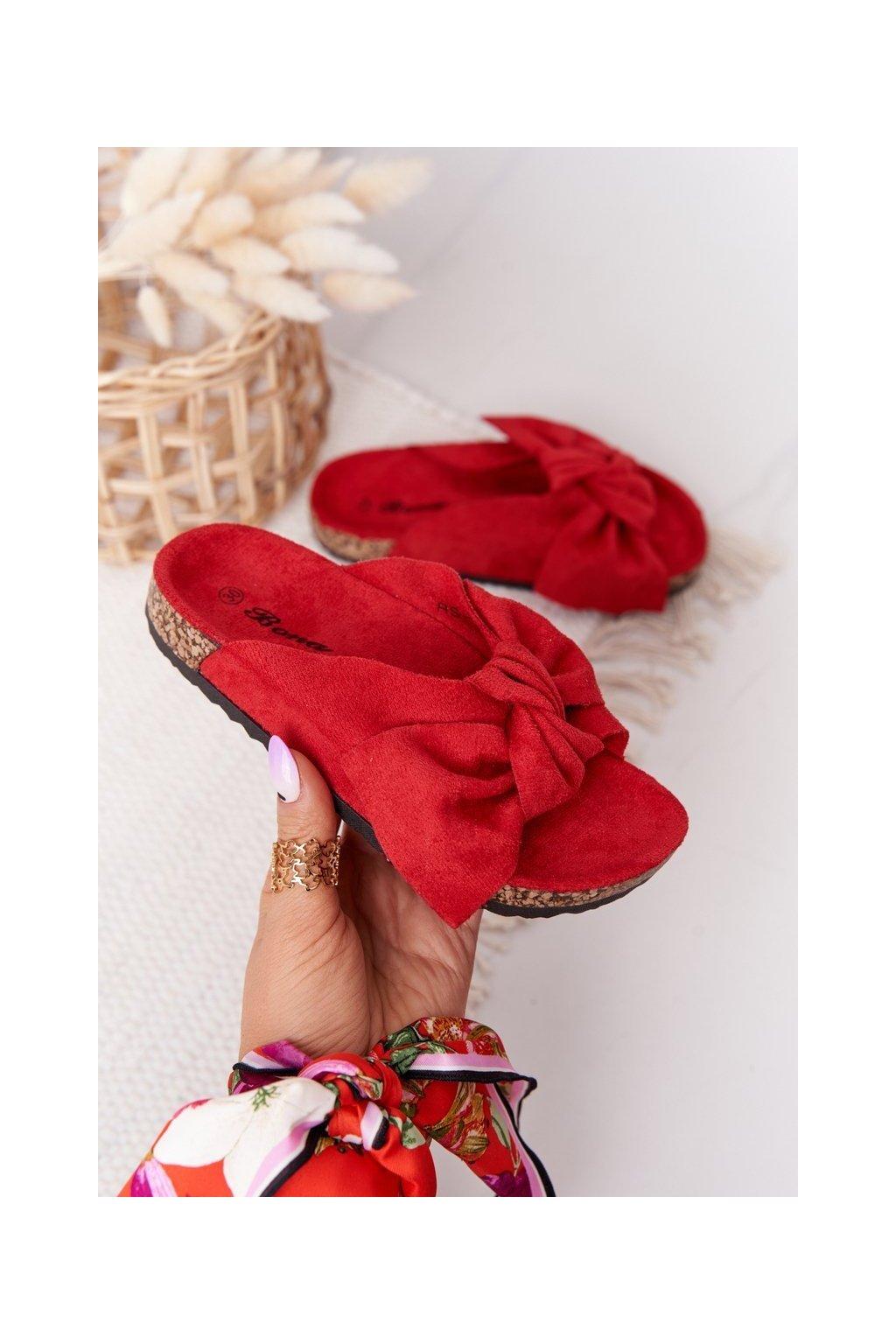 Detské šľapky farba červená kód obuvi RS-46 RED