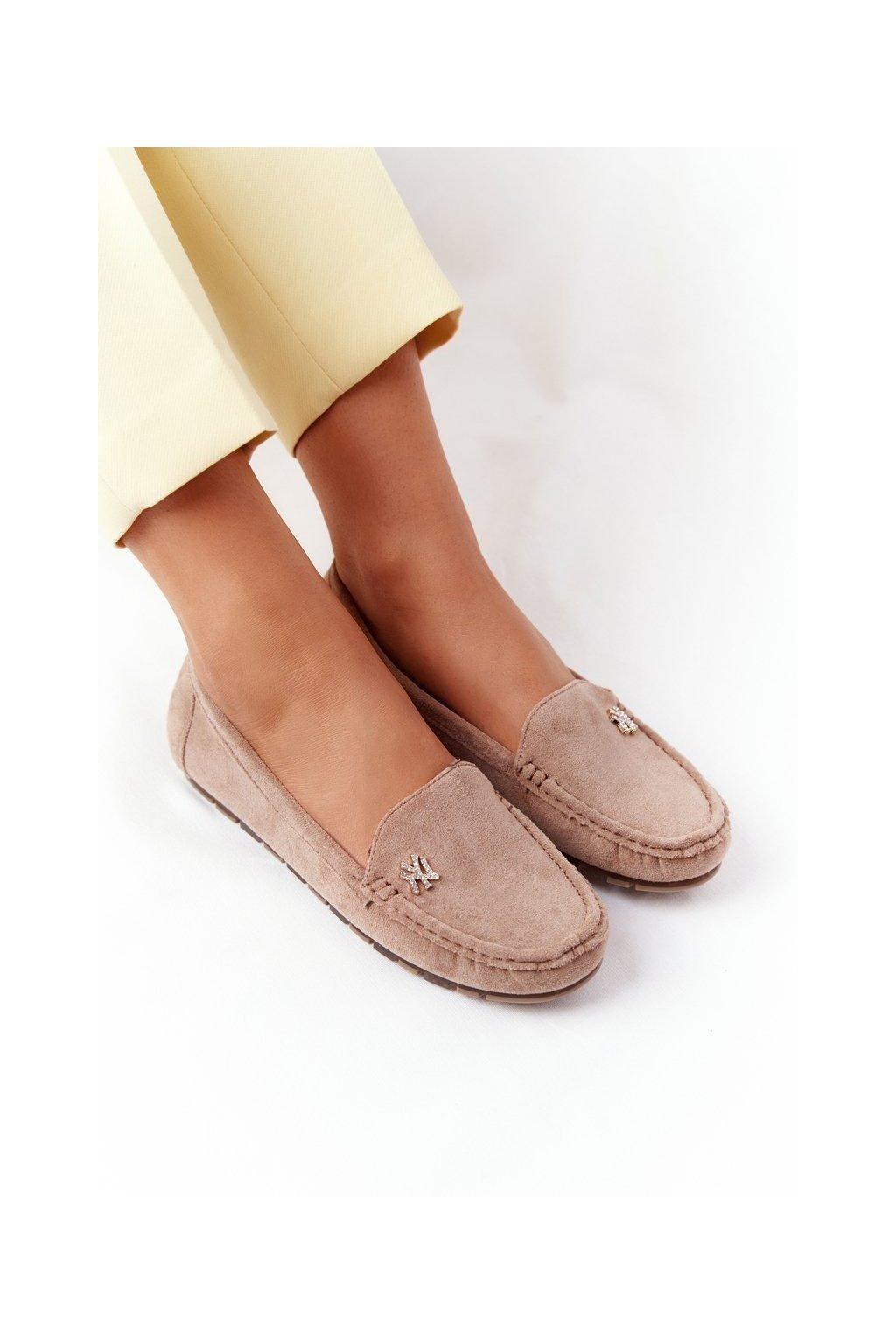 Dámske mokasíny farba hnedá kód obuvi GS13 KHAKI