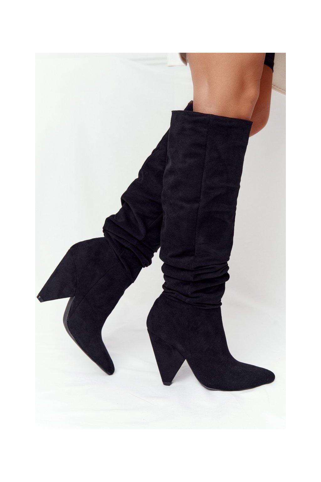 Dámske čižmy farba čierna kód obuvi XW37355 SUEDE BLK