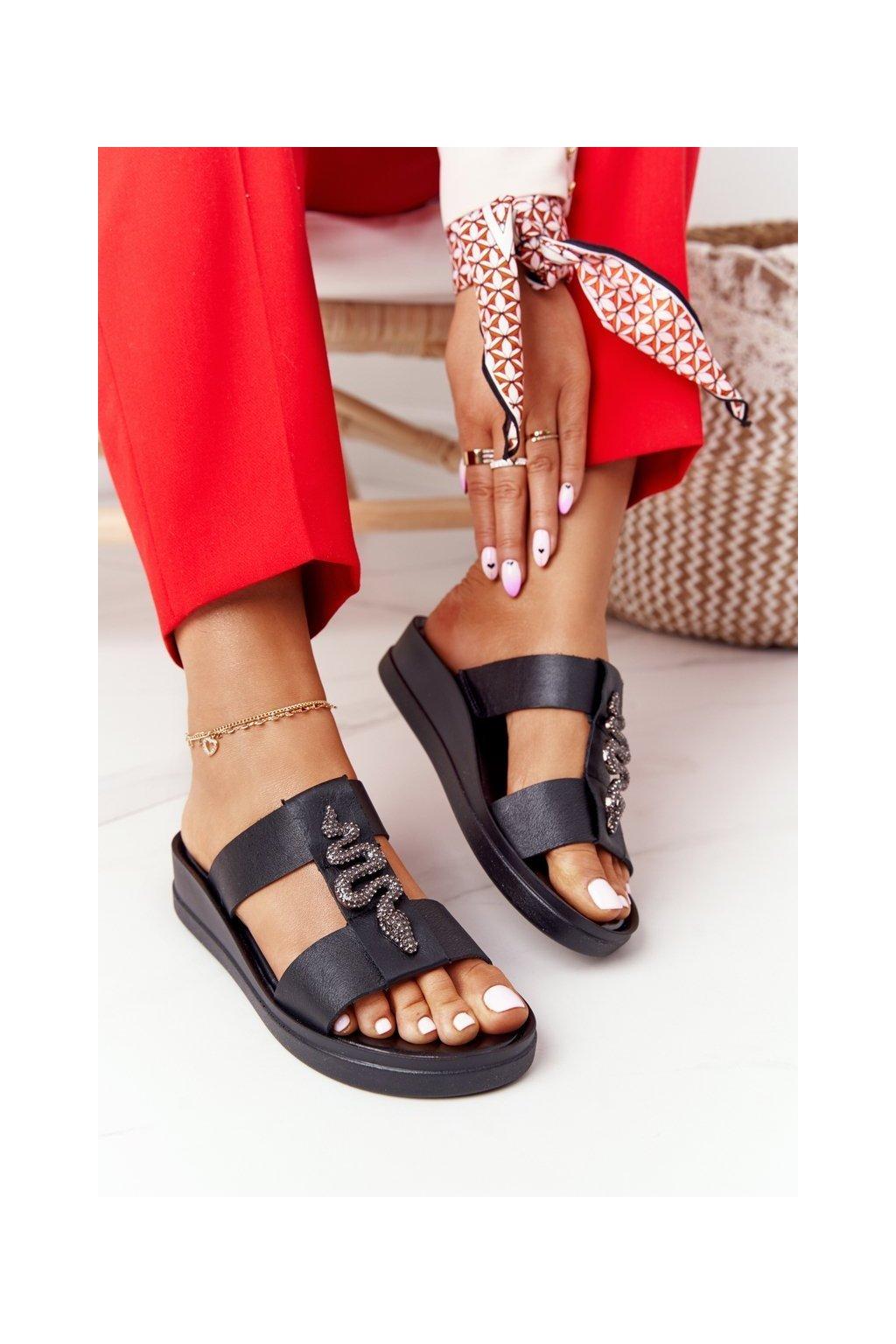 Dámske šľapky farba čierna kód obuvi 2272 100 BLACK
