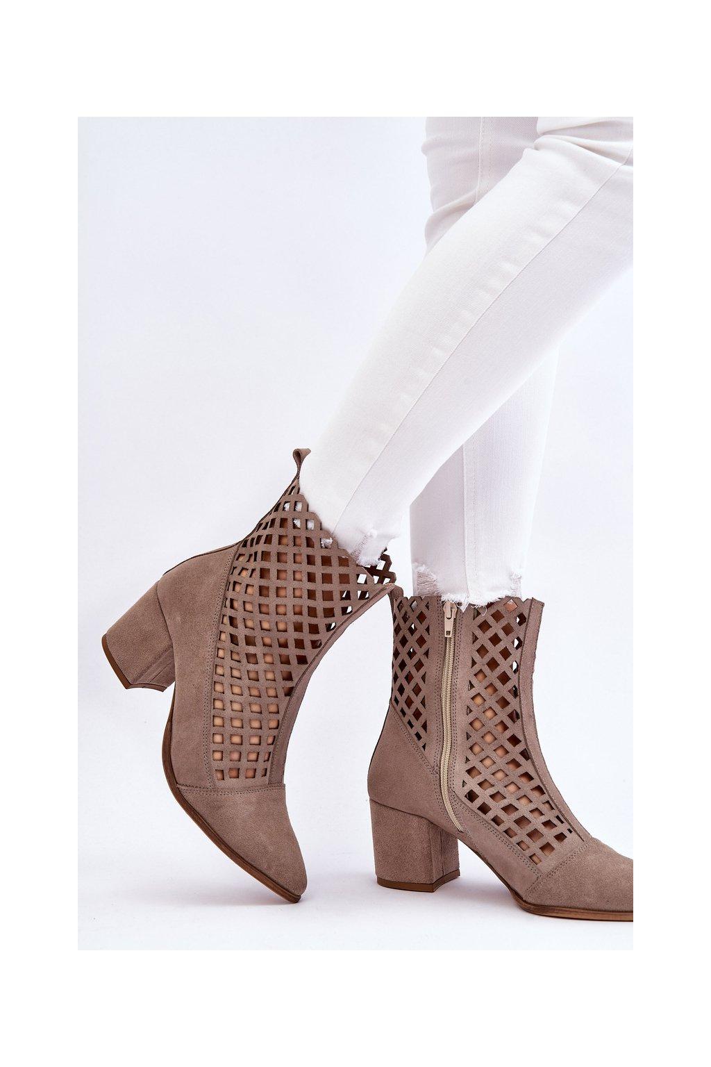 Členkové topánky na podpätku farba hnedá kód obuvi 2638/024 CAPPUCCINO