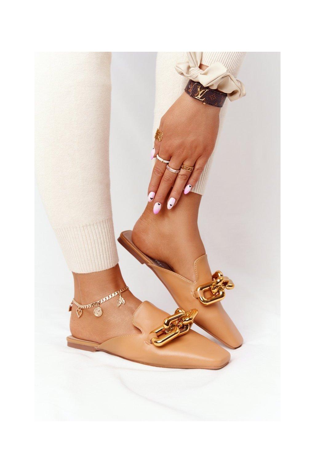 Dámske šľapky farba hnedá kód obuvi T500 CAMEL