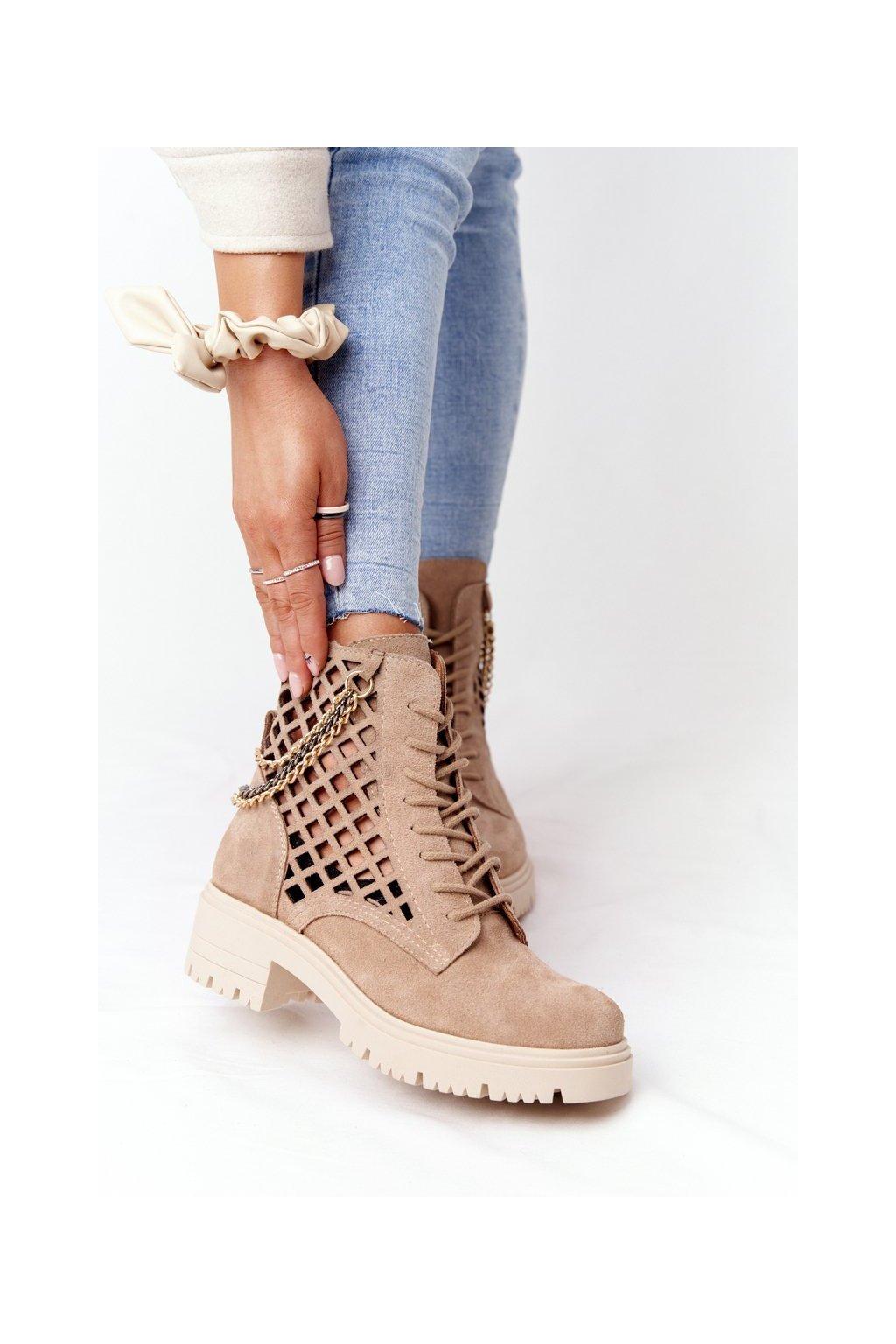 Členkové topánky na podpätku farba hnedá kód obuvi 3030-0 PIASEK