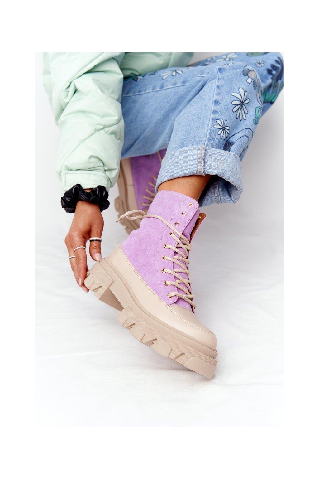 Členkové topánky na podpätku farba hnedá kód obuvi 3007-0 LILA ZAMSZ