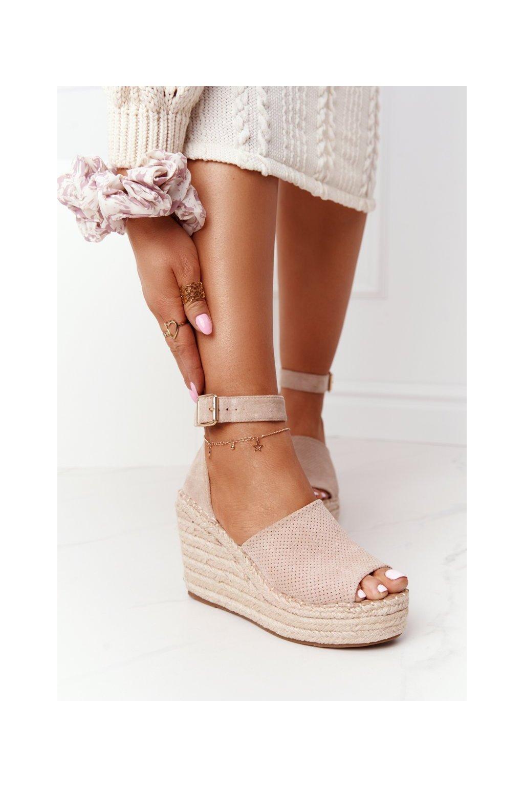 Dámske sandále na platforme farba hnedá kód obuvi BL1920-8 BEIGE