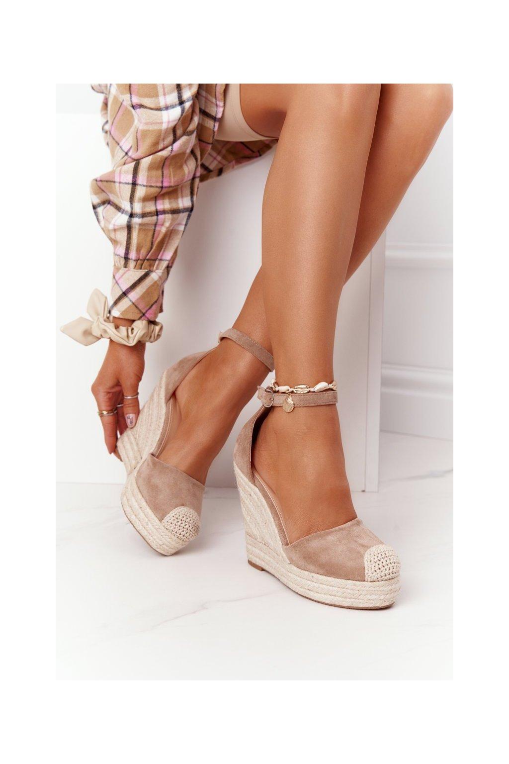 Dámske sandále na platforme farba hnedá kód obuvi BL1919-63 KHAKI