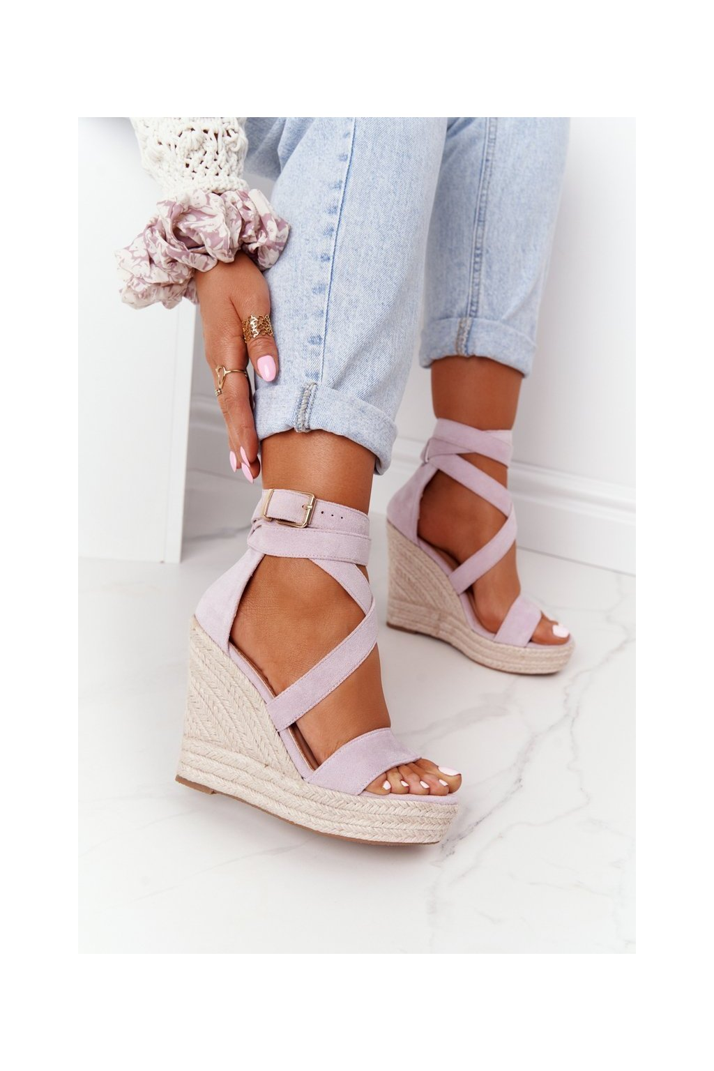 Dámske sandále na platforme farba fialová kód obuvi BL265-15 PURPLE