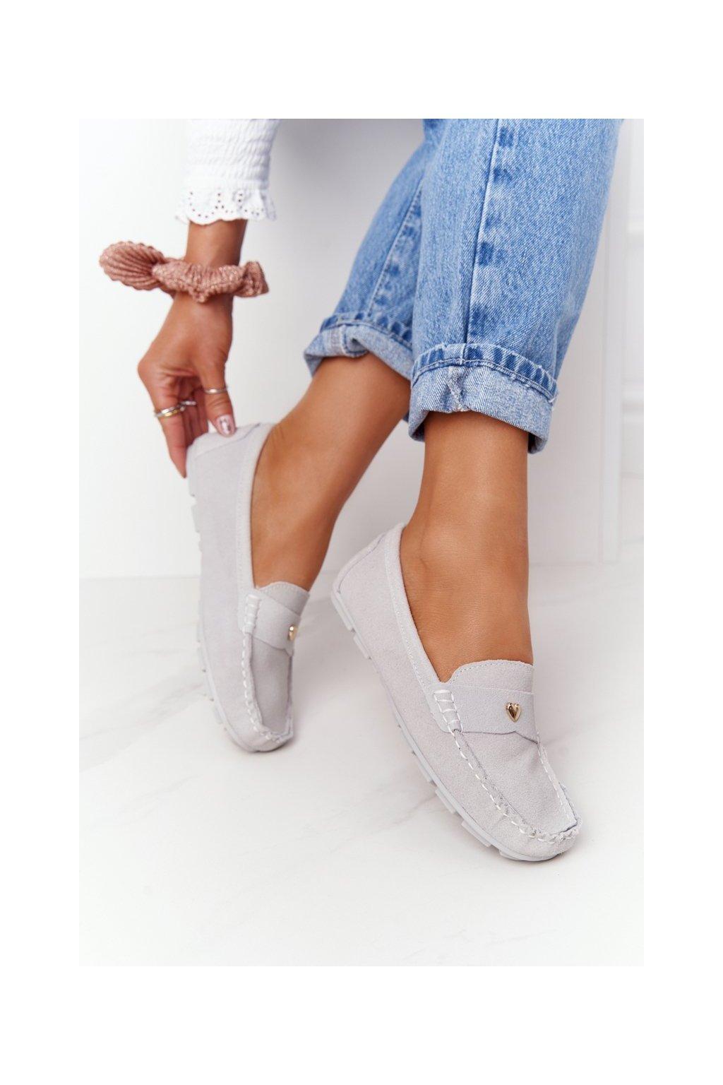 Dámske mokasíny farba sivá kód obuvi 97609 GREY