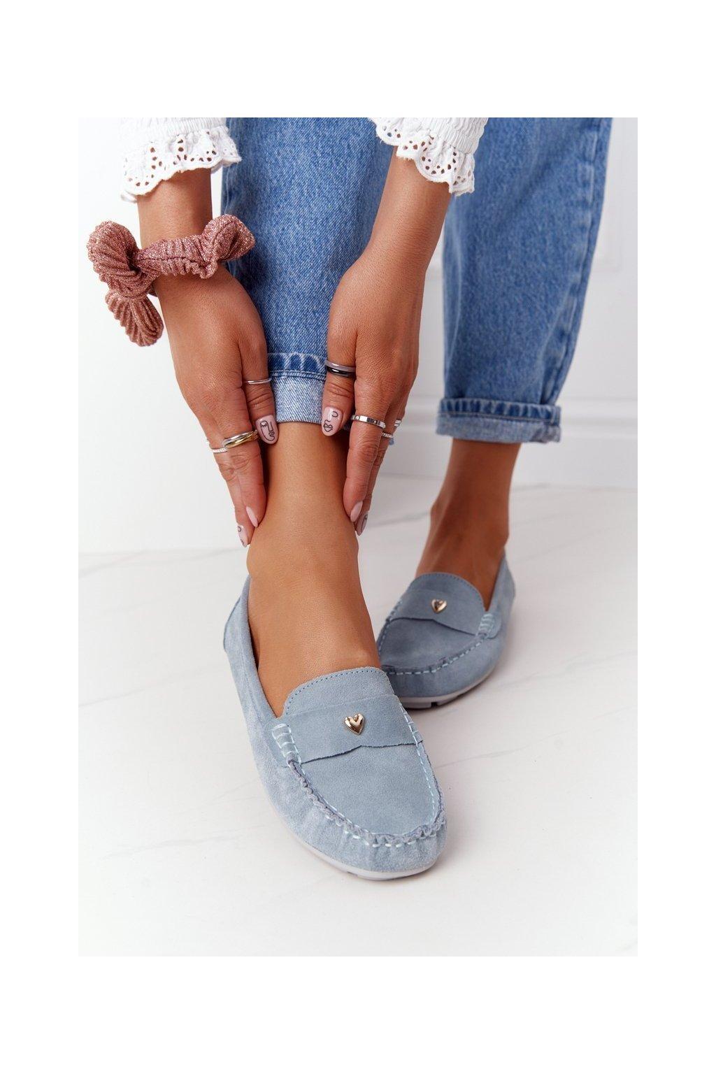 Dámske mokasíny farba modrá kód obuvi 97609 BLUE