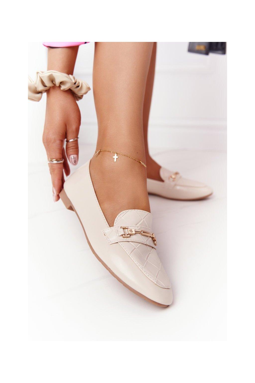 Dámske mokasíny farba hnedá kód obuvi JL76 BEIGE
