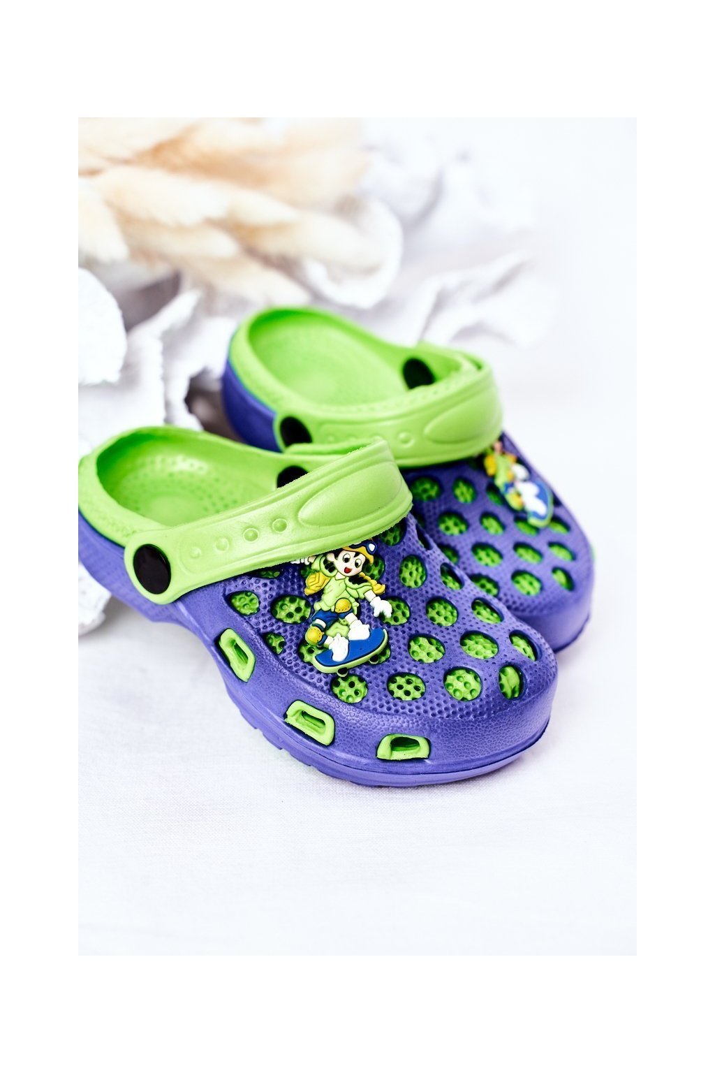 Detské šľapky farba modrá kód obuvi GY1008D-2 NAVY/GREEN
