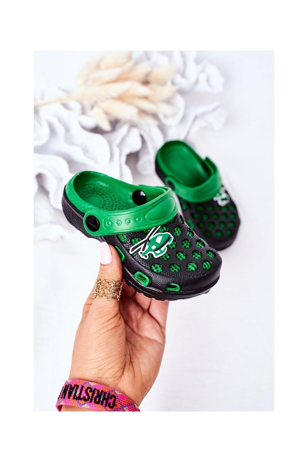 Detské šľapky farba čierna kód obuvi GY1008D-2 BLACK/GREEN