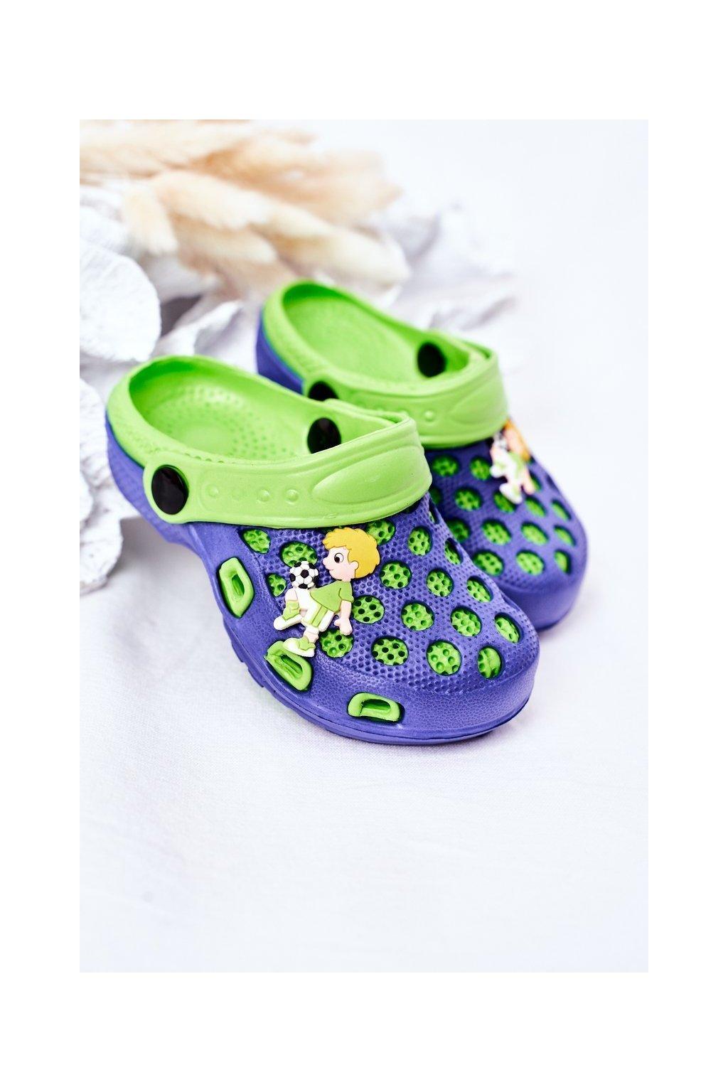 Detské šľapky farba modrá kód obuvi GY1008D NAVY/GREEN