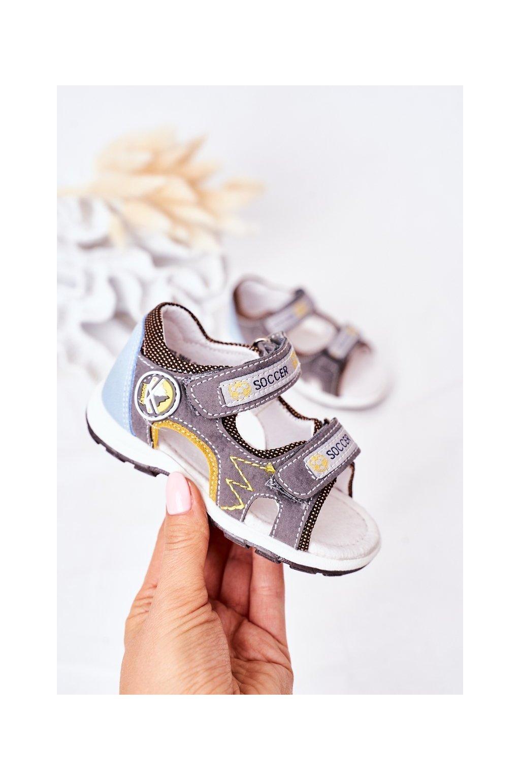 Detské sandále farba sivá kód obuvi 21DZ23-3095 GREY