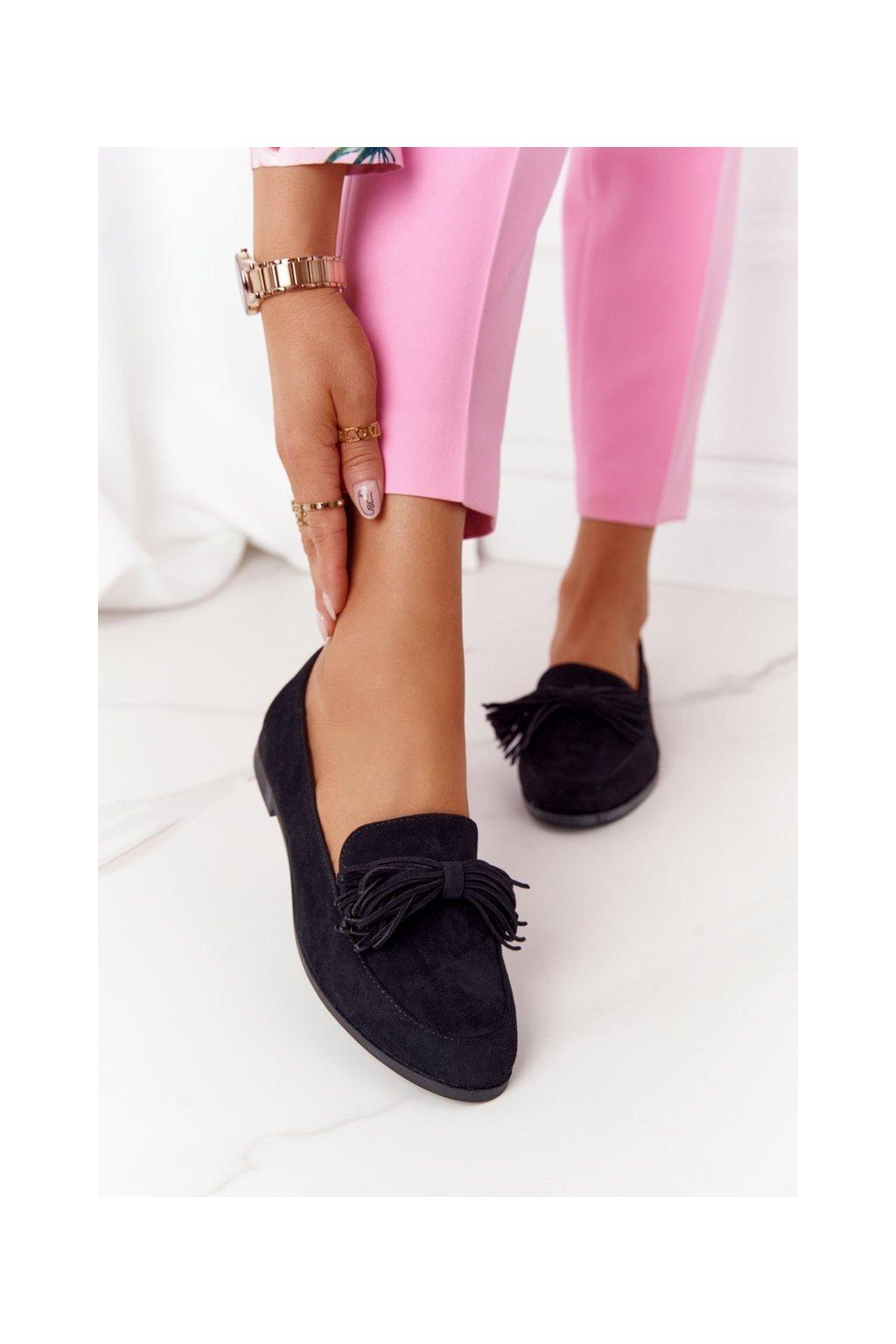 Dámske mokasíny farba čierna kód obuvi 21PB35-3530 BLACK
