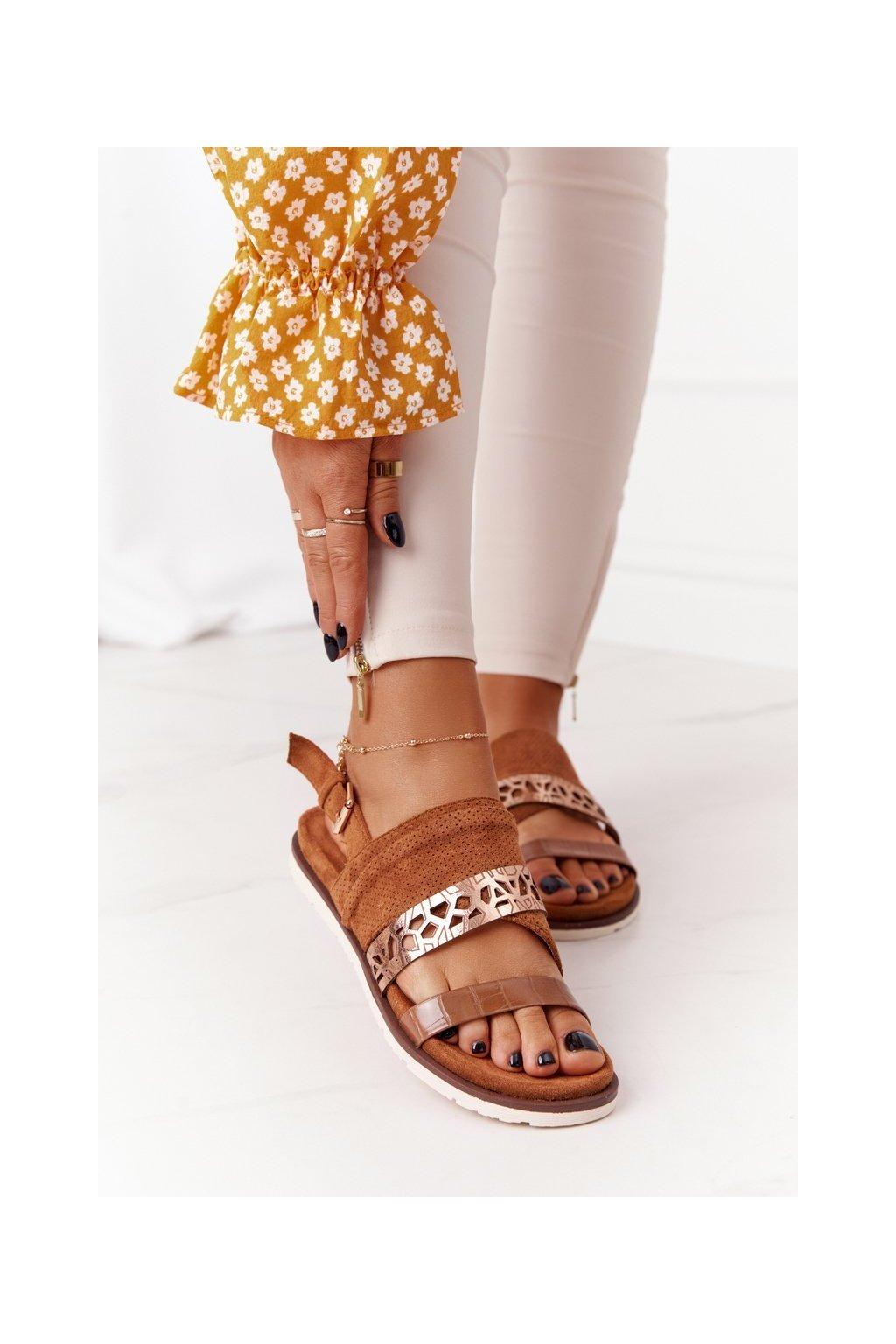 Dámske sandále farba hnedá kód obuvi 21SD35 3570 CAMEL