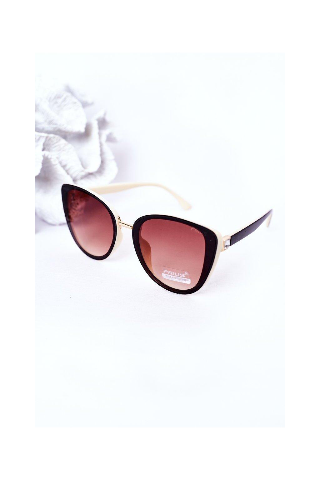 Módne slnečné okuliare béžovo-hnedé PRIUS Eyewear PRIUS005 BEIGE/BROWN