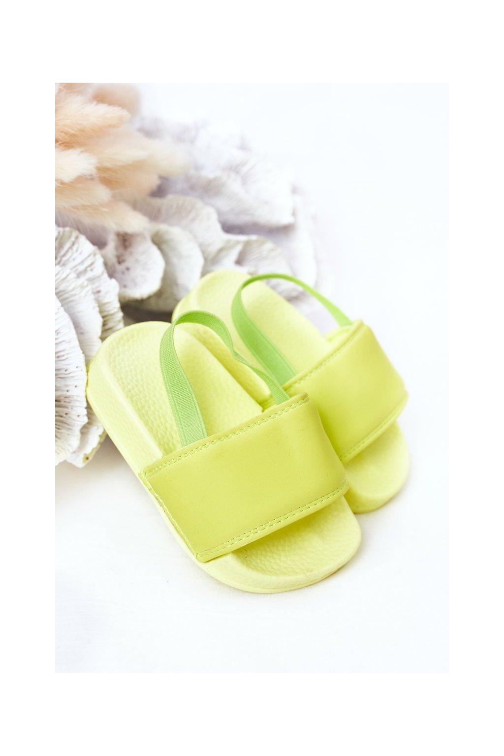 Detské šľapky farba zelená kód obuvi 294-B FL.GREEN/YEL