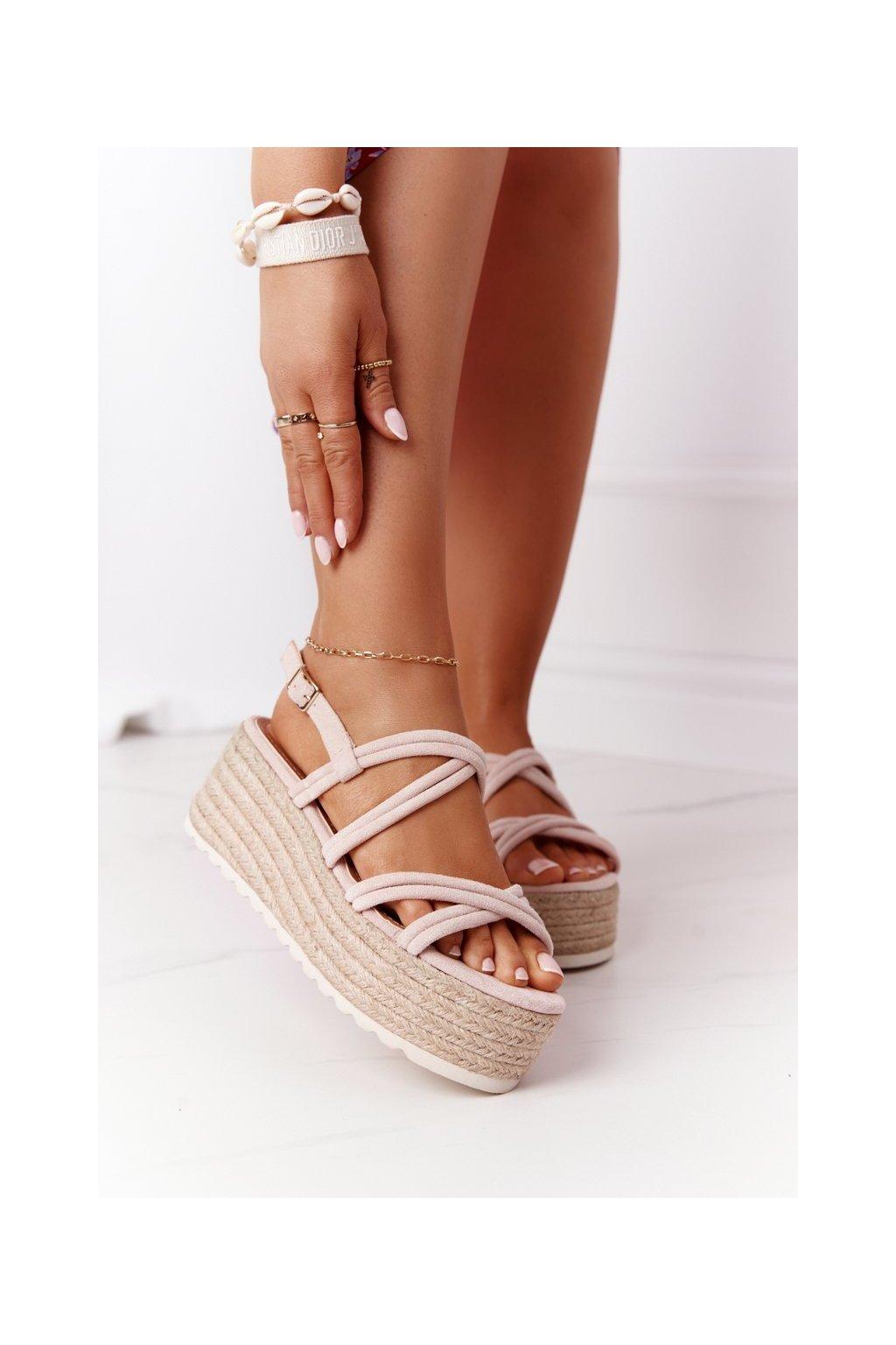 Dámske sandále farba hnedá kód obuvi JH151 BEIGE