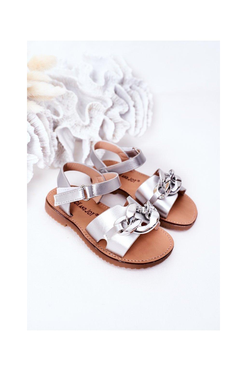Detské sandále farba sivá kód obuvi 290-C SILVER