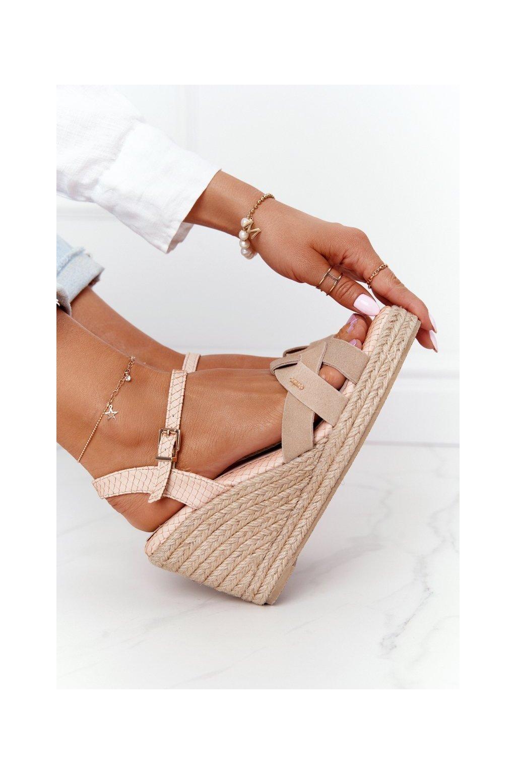Dámske sandále farba hnedá kód obuvi HH274380 BEIGE