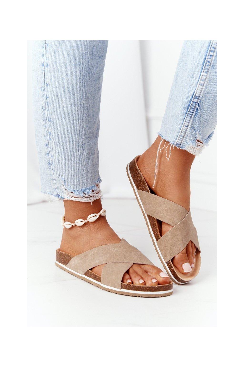 Dámske šľapky farba hnedá kód obuvi HH274593 BEIGE