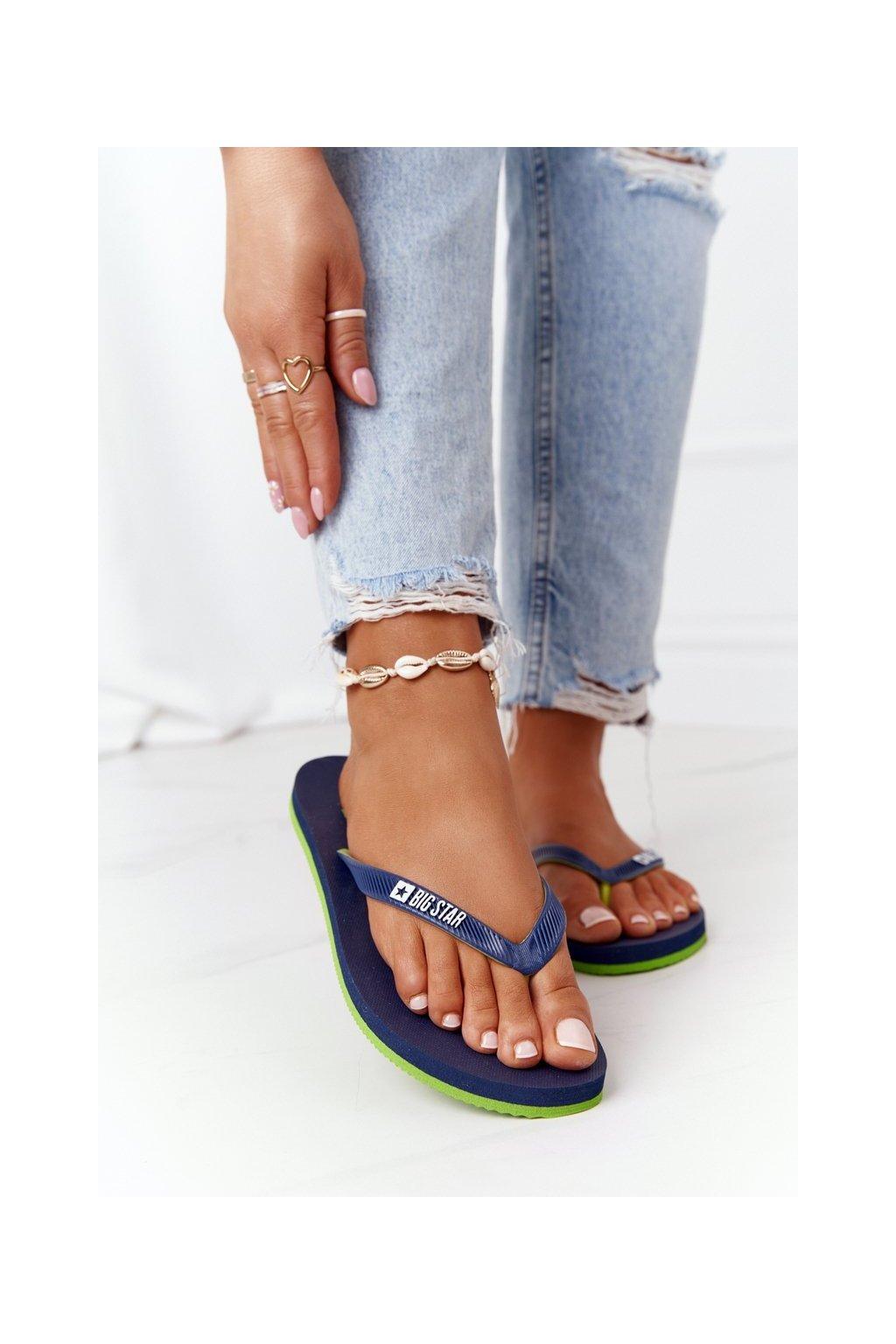 Dámske šľapky farba modrá kód obuvi FF274A312 NAVY