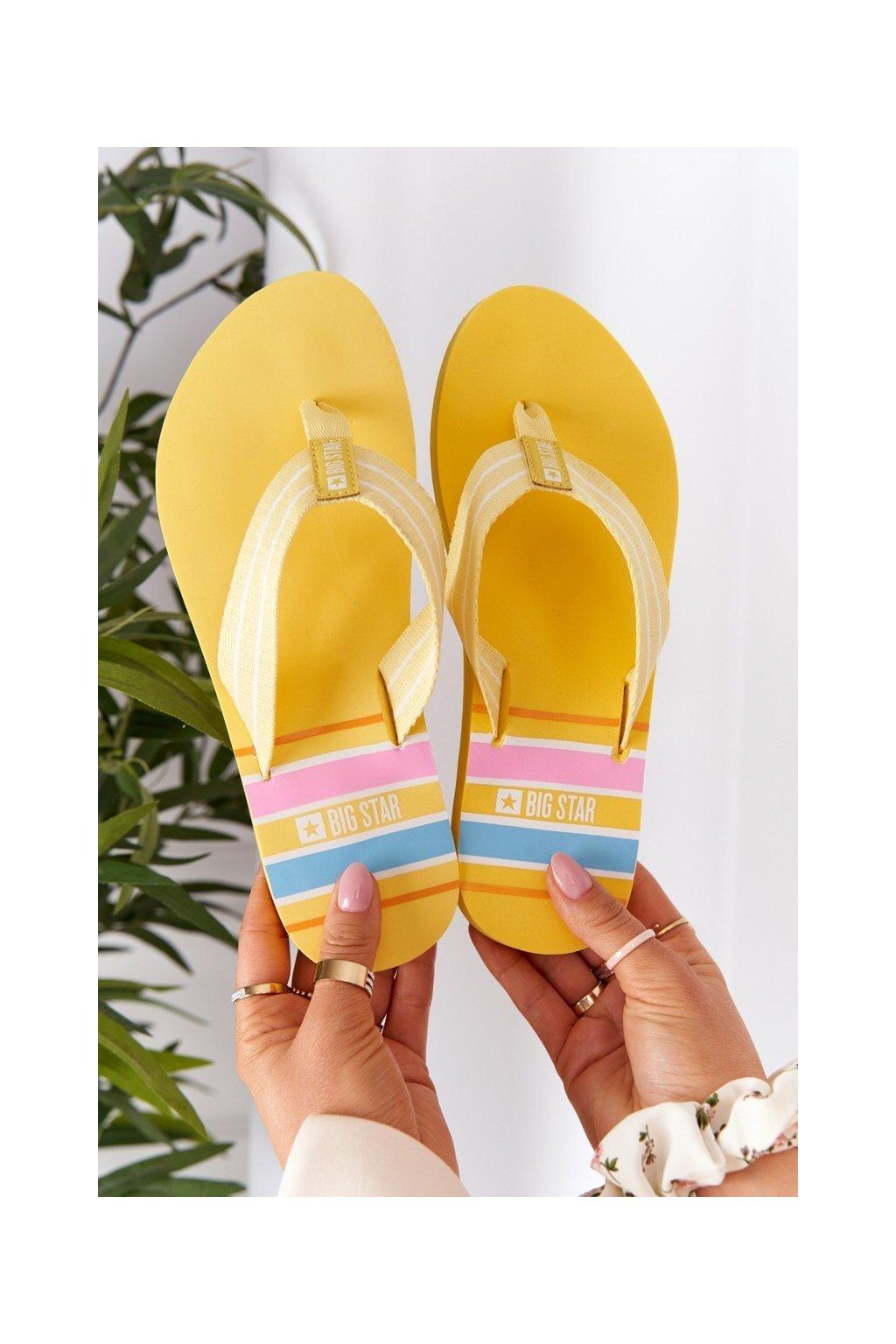 Dámske šľapky farba žltá kód obuvi HH274A055 YELLOW