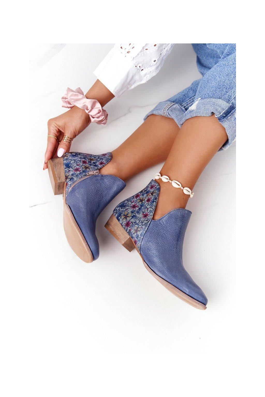 Členkové topánky na podpätku farba viacfarebná kód obuvi 04091-64/00-5 GRANAT,KWIATKI