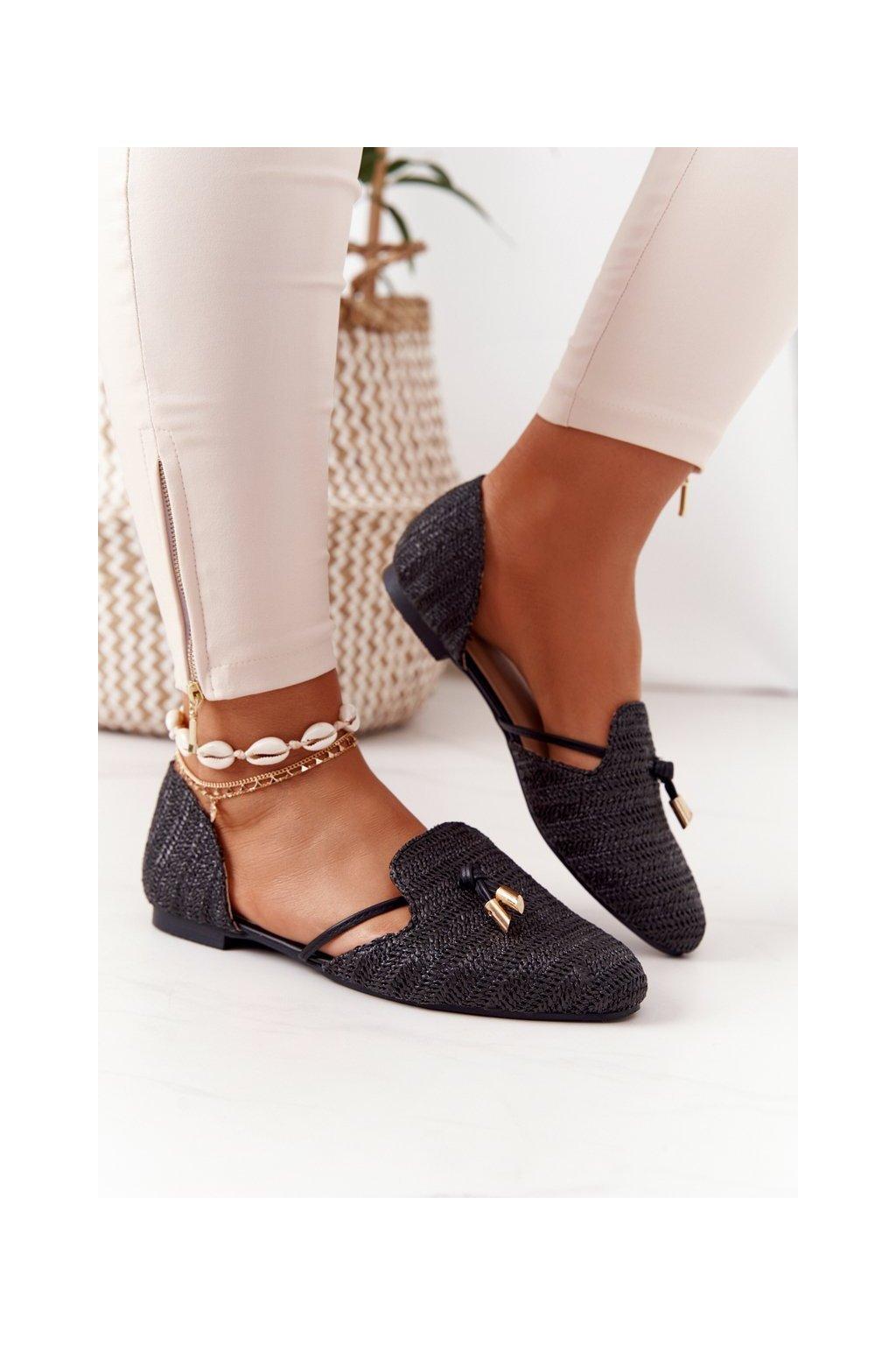 Dámske balerínky farba čierna kód obuvi 578-A13 BLACK