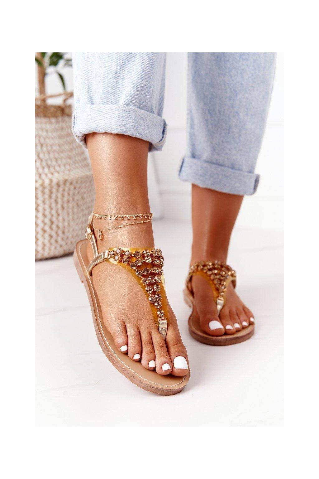 Dámske sandále farba žltá kód obuvi BB-1 GOLD