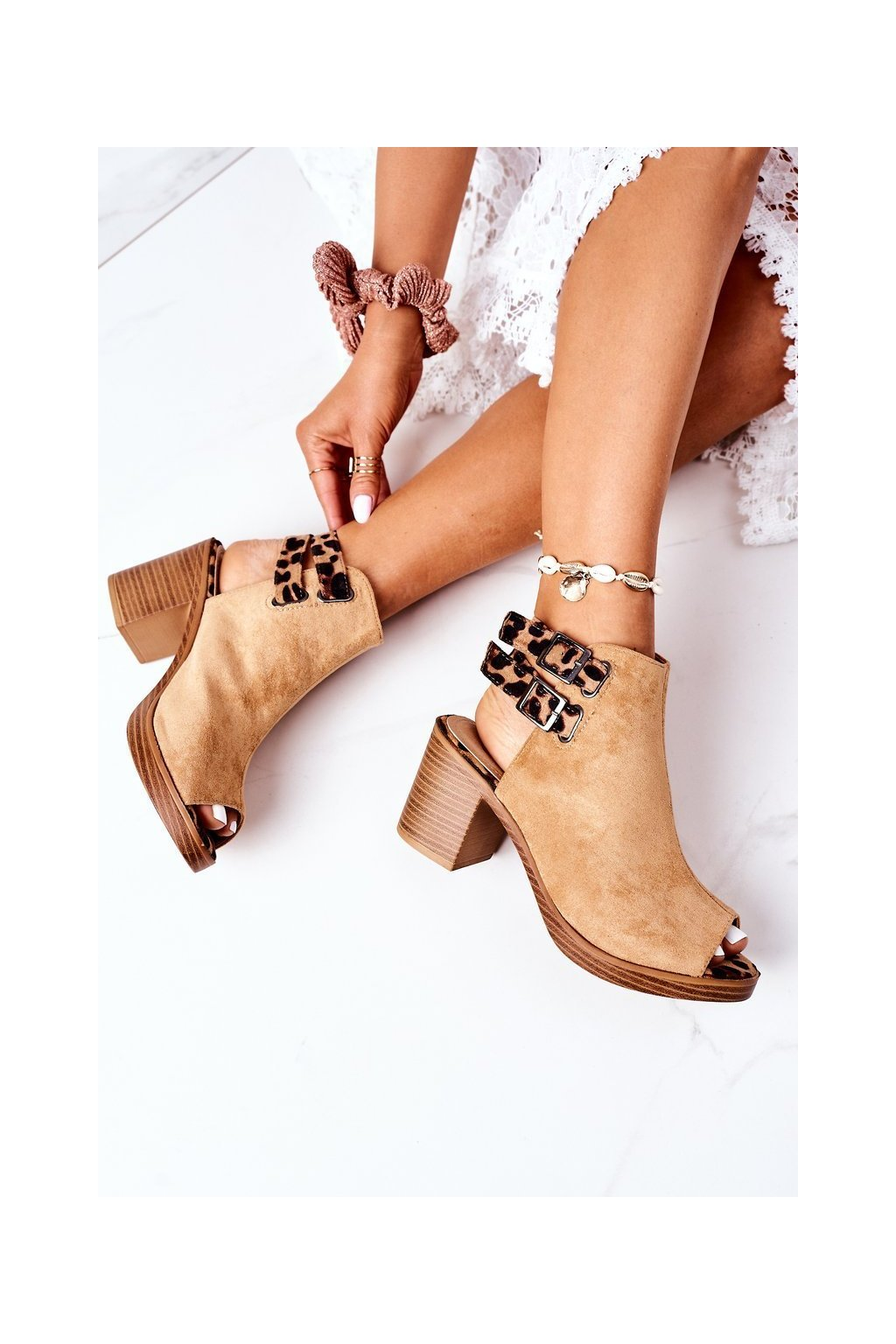 Dámske sandále farba hnedá kód obuvi 318-29 CAMEL/CAMEL