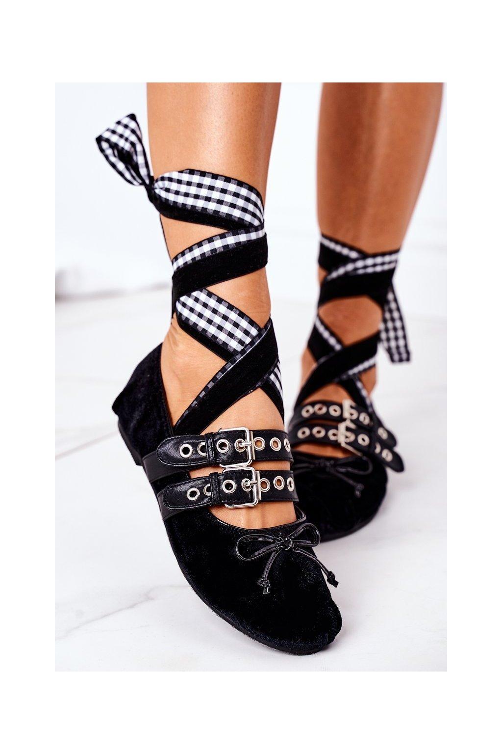 Dámske balerínky farba čierna kód obuvi B12-18 BLACK
