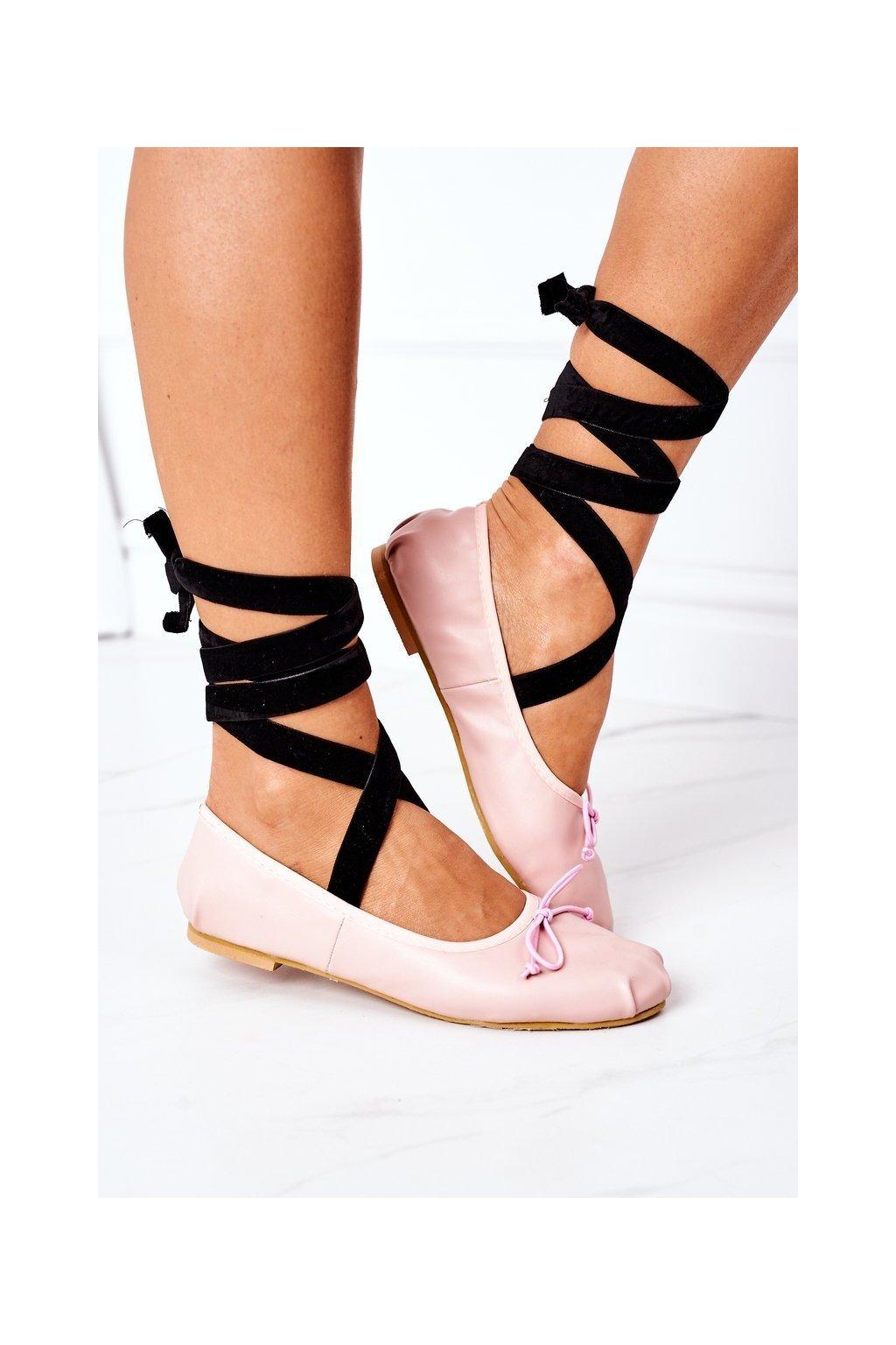 Dámske balerínky farba ružová kód obuvi B12-26 PINK
