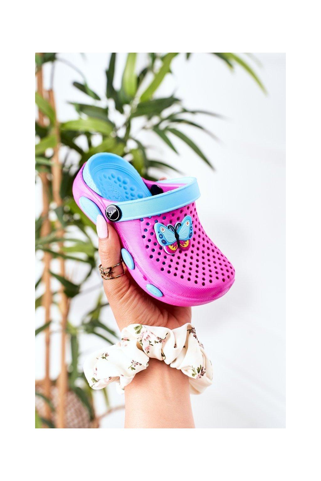 Detské šľapky farba ružová kód obuvi E7109 FUCHSIA BLUE