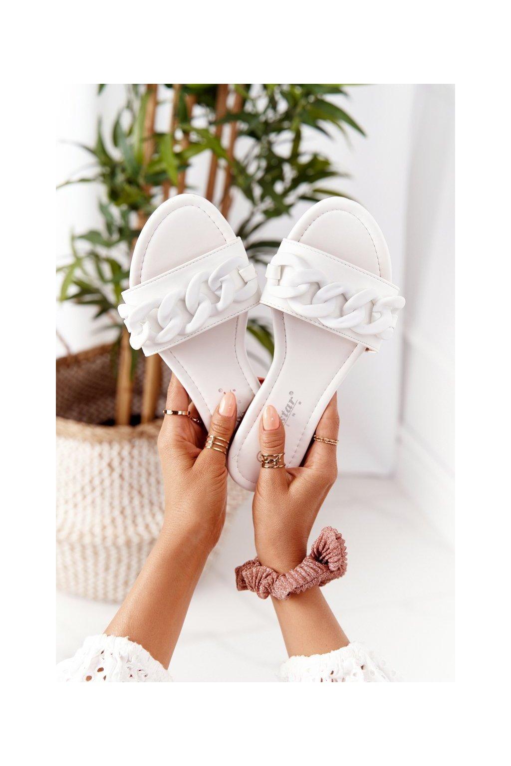 Dámske šľapky farba biela kód obuvi CK205 WHITE