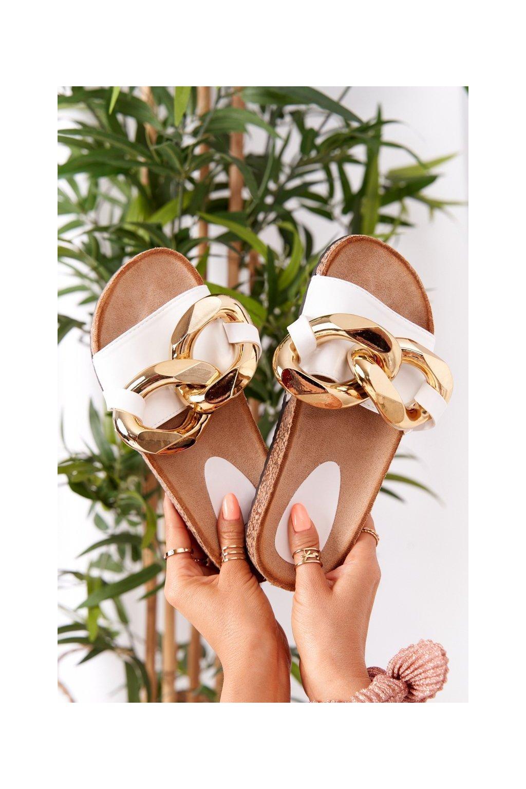 Dámske šľapky farba biela kód obuvi CK201 WHITE