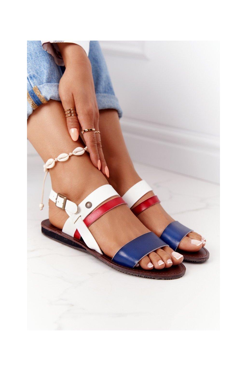 Dámske sandále farba biela kód obuvi 20SD77-1942 NAVY/WHITE