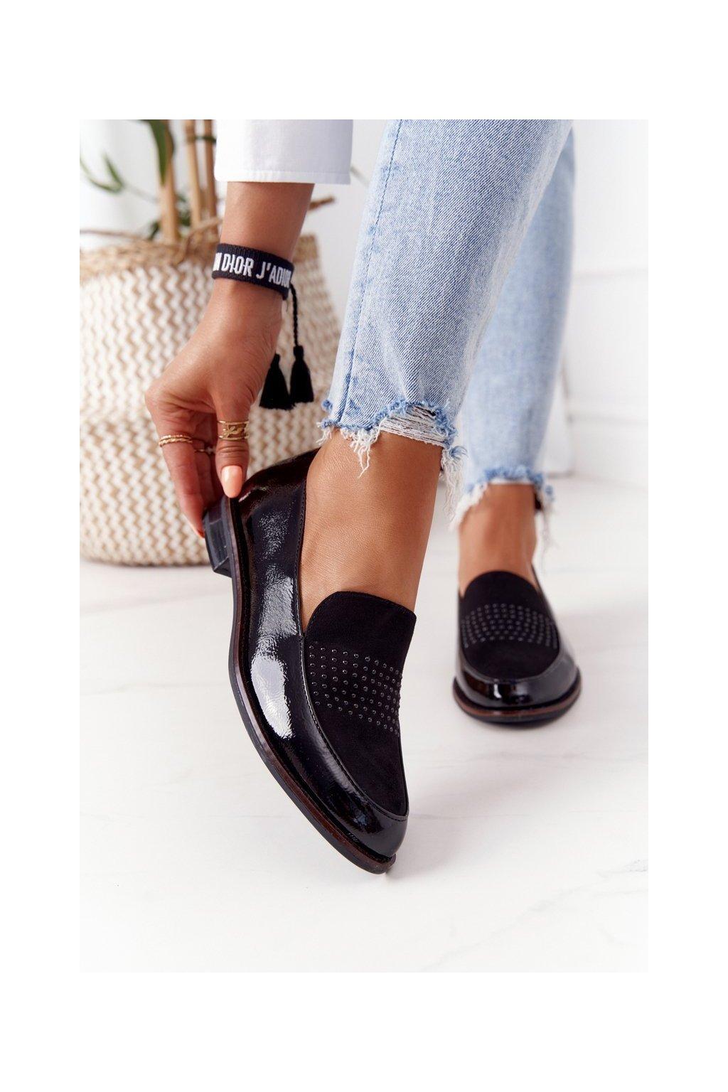 Dámske mokasíny farba čierna kód obuvi PB254 CZARNY MIC/LAKIER