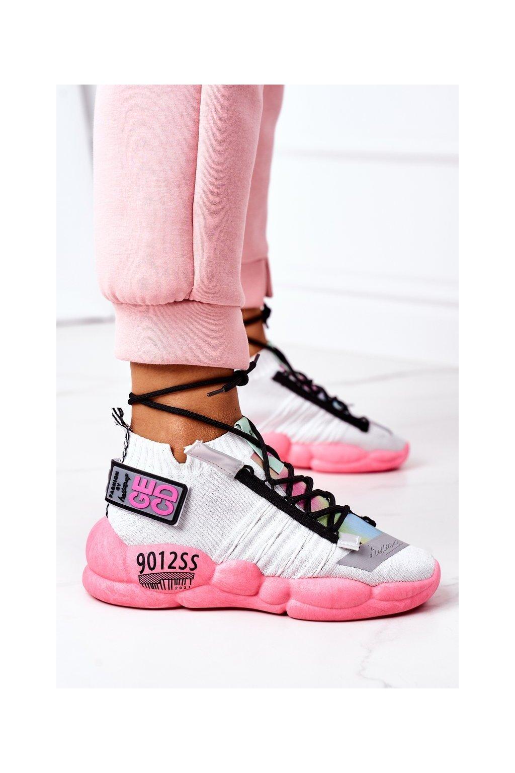 Dámske tenisky farba ružová kód obuvi LA69 WHITE PINK
