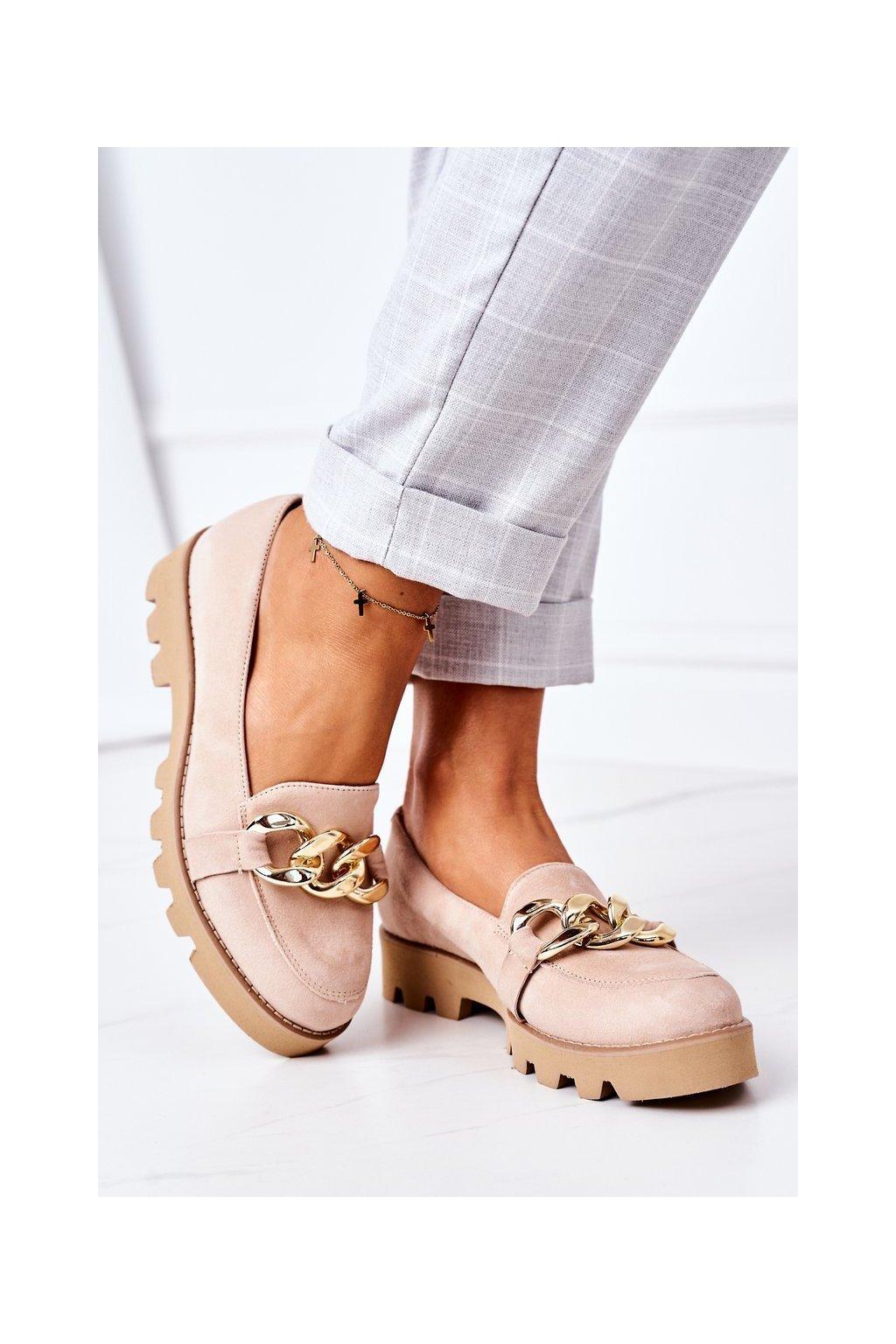 Dámske mokasíny farba hnedá kód obuvi 3040 CAPPUCCINO ZAMSZ