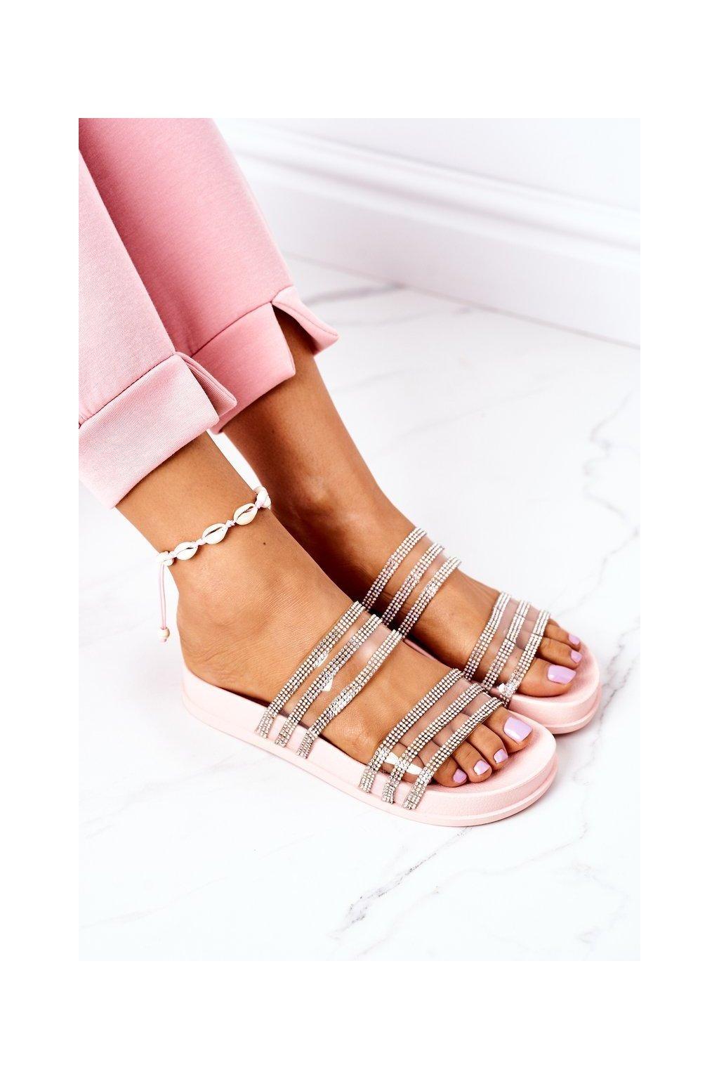 Dámske šľapky farba ružová kód obuvi RS01 PINK