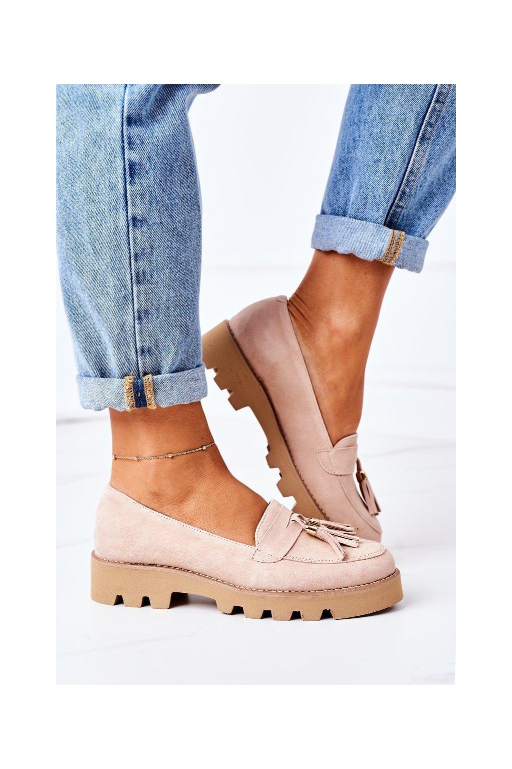 Dámske mokasíny farba hnedá kód obuvi 3053 CAPPUCCINO ZAMSZ