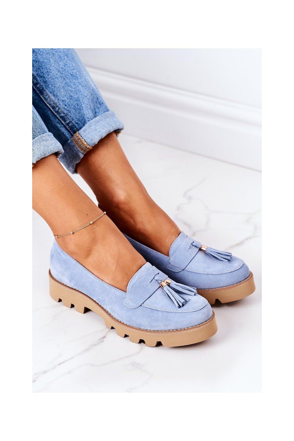 Dámske mokasíny farba modrá kód obuvi 3053 BŁĘKIT